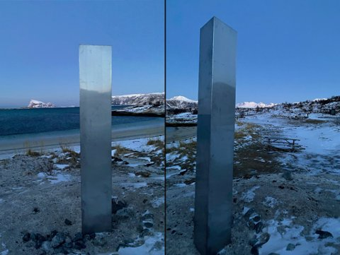 HØYE: Monolitten på Sommarøy er flere meter høy og laget i blank metall. Den er lik monolittene som er observert andre steder i verden. Foto: Nordlys-tipser
