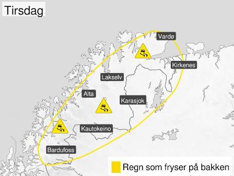 GLATTE VEIER: Meteorologene advarer mot ekstremt glatte veier i indre strøk i Troms, og i Finnmark.