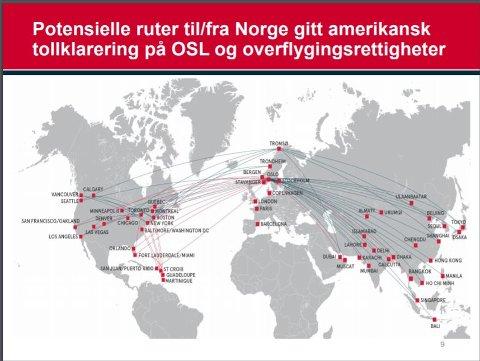 Disse direkte rutene fra Tromsø lå inne i presentasjonen til Norwegian i Tromsø o oktober, som potensielle ruter gitt amerikansk tollklarering på OSL og overflgingsrettigheter Sibir-korridoren.