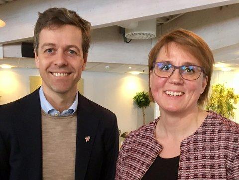 Partileder Knut Arild Hareide sammen med 1. kandidat KrF i Troms, Helga Marie Bjerke