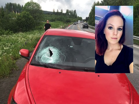LIVSFARLIG: Steinen som falt fra lasteplanet på lastebilen foran, gikk tvers gjennom frontruta og ut sideruten bak på bilen til Jannicke Bradal.