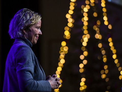 – En banksjef skal være nervøs og forsiktig og sånn, men jeg tror det blir et godt år, sier Hanne J. Nordgaard.