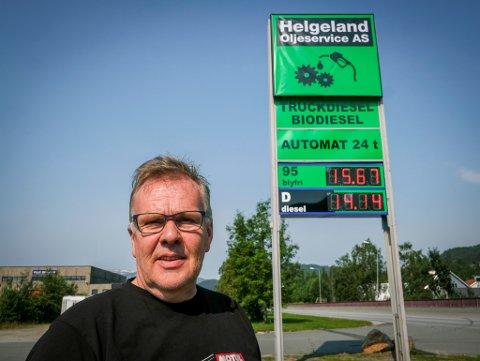 Helgeland oljeservice med pumpestasjon på Ytteren. Tore Olsen ligger under de andre i pris på pumpa.