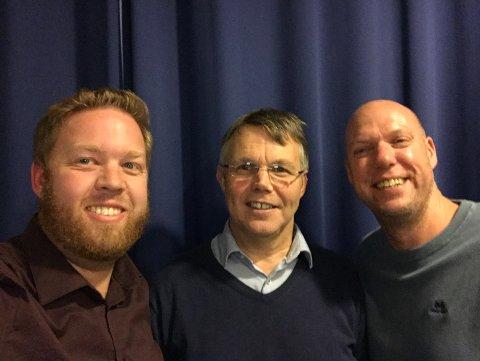 Bror-Lennart Mentzoni (i midten) er ukens gjest hos Jørn W. Granerød Horntvedt og Leif-Tore Markman i SF-Podden