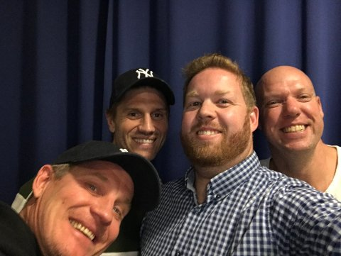 Erik Mjelde (nummer to fra venstre) er ukens gjest i SF-Podden.