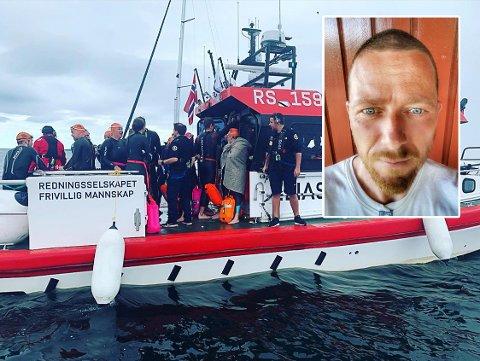 KRISTISK: Kjetill Mobissen Moberg (innfelt) var i følgebåten, og mener de ga Frank Løke tydelig beskjed om å bryte.
