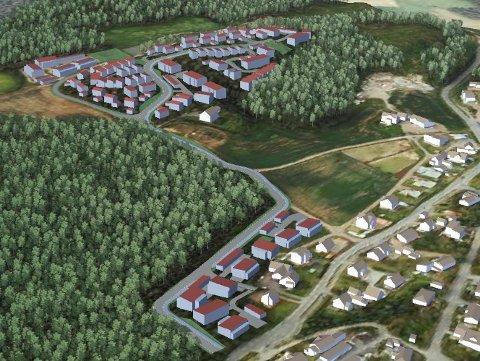 100 BOLIGER: Skissen viser eksempel på en mulig utbygging på Lundenåsen i Melsomvik. (Illustrasjon: Asplan Viak)