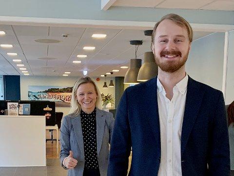 ØKT INNSATS: Nicolay Ingebretsen skal matche gründere i Vestfold med investorer. Benedicte Eian Iversen håper det vil gi flere vekstbedrifter i Sandefjord.