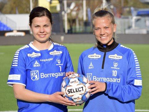 Sarpsborg 08-damene har håp om å kjempe helt i toppen i årets 2. divisjon avdeling 1 - og aller helst sikre seg kvalikplassen. Her ser vi Andrea Ungar Jensen (t.v.), nyervervet spiss fra Begby, og kaptein Camilla Bønøgård. (Foto: Kjetil A. Berg)