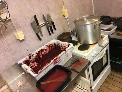 BLODSØL: Mattilsynet var langt fra fornøyd etter tilsynet hos Vognskjulet. Dette bildet viser en blodklubbbalje, blodklubbkjele og stekesone for leverkaker.