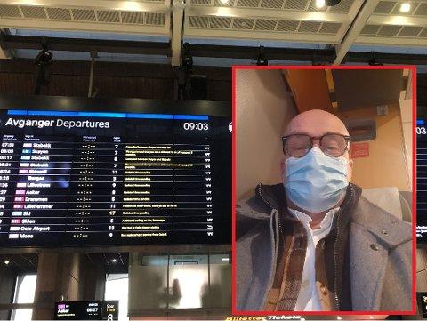 MANGE ER RAMMET: Tom Darum er en av dem som står bom fast på toget tirsdag morgen.