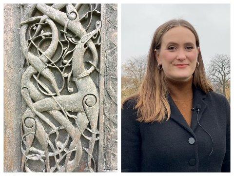SPENNANDE: Stavkyrkjeforskar Linn Willets Borgen hjå Fortidsminneforeningen leiar prosjektet med rekonstruksjon av Urnesportalet.  – Det er fantastisk spennande å vera med på.