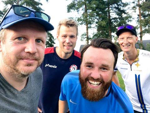 TESTPANEL: Sportssjef Erik Edvardsen, Stian Kittilsen, Thomas Furuheim og jeg testet padelbanen i Skien fritidspark denne uka.