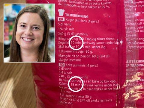 MANGE LURER: Coop Norge får mange henvendelser året rundt om hvor lenge risen skal koke. På bakken står det nemlig ulik koketid avhengig av hvilket språk man leser på.