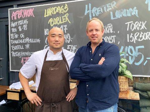 MÅL: De har en målsetting om å heve nivået enda et hakk, den nye kjøkkensjefen Daniel Persson og Paparazzi-innehaver Christian Hjelmtvedt.