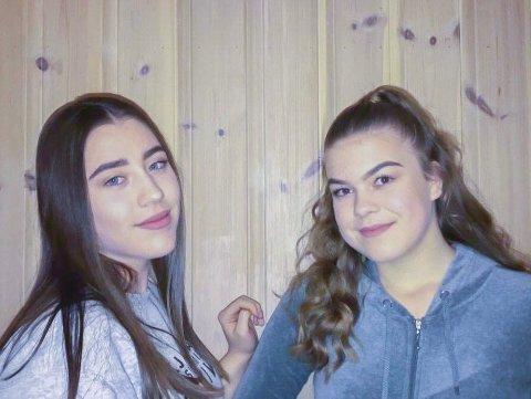 Stortrives: Elevrådsleder Alise Fossing Stebekk (til høyre) og venninnen Maria Eimhjellen Langan trives svært godt på Vegårshei skule. De går begge i 10. klasse, hvor ingen elever rapporterer om mobbing i fjor høst.Privat foto