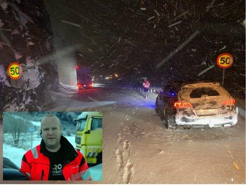 Travel natt: Daglig leder Arve Wangensteen i Vang Auto-Service AS hadde fem mann i arbeid og tre bergingsbiler i sving natt til torsdag. 10–12 semitrailere ble hjulpet opp på vegen igjen eller til å komme seg løs.