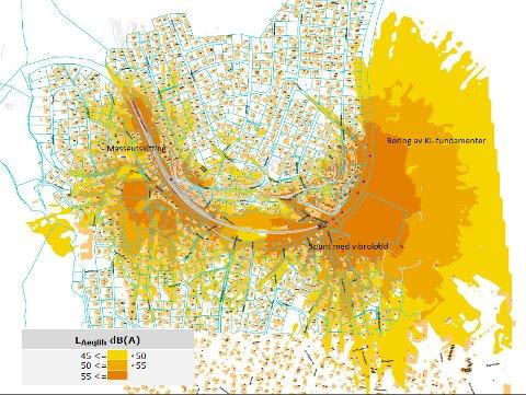 STØYKART:Kart som viser gjennomsnittlig støy under arbeidene fra 10. til 20. august på Nittedal stasjon. Lyseste gulfarge viser et støynivå på mellom 45 og 50 decibel, der øvre grense for tillatt gjennomsnittlig støy nattestid er 45 decibel.