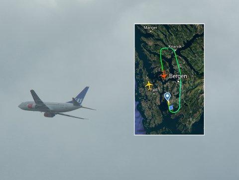 SAS-flyging SK 248 måtte snu ved Knarvik fordi det blei treft av tre lynnedslag.