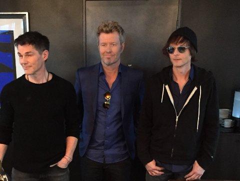 Morten Harket, Magne Furuholmen og Paul Waaktaar-Savoy under pressekonferansen på The Thief fredag.