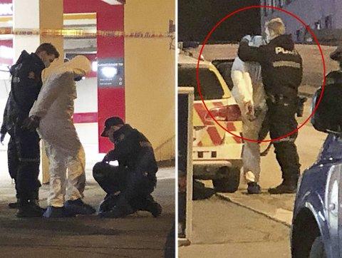 22-åringen ble pågrepet og iført en hvit kjeledress kort tid etter knivstikkingen.