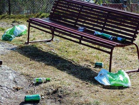Slik så det ut i Løkkebergparken etter nattens fest.