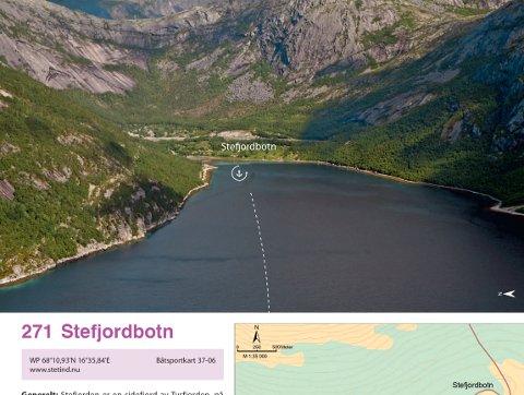 Stefjordbotn er en av havnene som er med i boken.