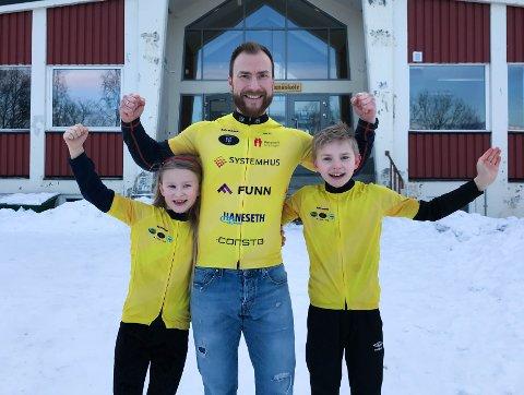 Håper på engasjement: Sten Askvik, med ungene Mathias (12) og Vera (9), håper skolene i regionen vil delta på barneløpet til inntekt for forskning på barnekreft. Foto: Privat.