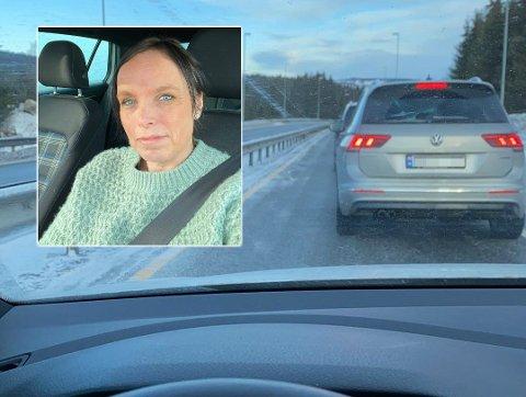 RIKSVEIFAST: Hege Elisabeth Engen fra Raufoss var på vei til forelesning på Hamar da hun ble sittende fast i kø mellom Raufoss og Gjøvik onsdag morgen.