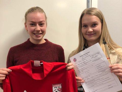 OVERGANG: Lise Molden Stensrud (til venstre) og Malin Brenli er to av flere fra Hadeland KFK som har signert for Lunner FK.