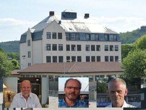 STIRDENS KJERNE: Det er spørsmålet om bevaring eller ikke bevaring av denne skolen som skaper furore i Halden. En egen Facebook-gruppe har samlet mange rivningsmotstandere, og tre av dem ytrer seg i denne saken. Fra venstre Svein Norheim, Jan Erik Sørlie og Svein Olav Hansen.