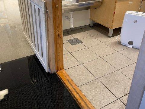 LEKKASJE: Det hadde lekket ut rundt tre centimeter vann på gulvet til venstre i bildet.