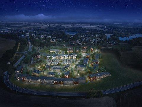 NYTT BOLIGFELT: I løpet av 10-12 år, vil et helt nytt boligfelt være på plass på Fossumjordet. De første boligene er nå solgt.