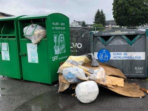 FORSØPLING: I stedet for klær, sko og tekstiler, har UFFs gjenbrukscontainer blitt fyllt med byggematerialer og søppel.
