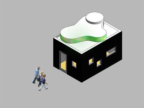 Pumpehus:  Pumpehuset har buet tak, Det grønne området skal illustrere nordlys.