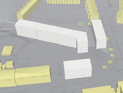 ALTERNATIV 2: Plan - og bygningsetaten ønsker at dette forslaget, uten høyblokk, skal bli den valgte løsningen  for Bergkrystallen Torg. Bydelsutvalget på Nordstrand er enig i dette.Illustrasjon: PBE
