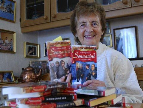 HEDRES: Frid Ingulstad har solgt over ti millioner bøker og får nå Riksmålsforbundets ærespris. Arkivfoto: Andrine Davidsen