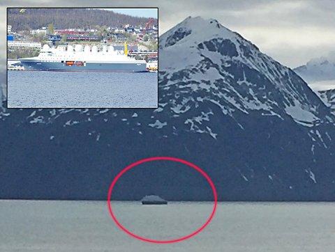UKAS SNAKKIS: Dette skipet har blitt mye fotografert i Lyngen denne uka. Uten at Forsvaret vil bekrefte det, er det temmelig sikkert at det er det nye etteretningskipet Marjata som besøker fjorden.