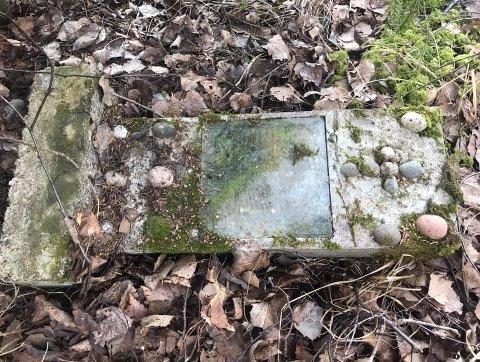 INNGJERDET: Slik så det inngjerdede gravstedet ut. Steinen var hjemmelaget og gammel.