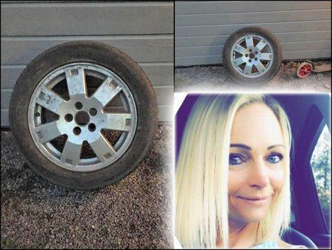 BANG: Hjulet dundret inn i stueveggen til Stine Lill Sørsveen (37) sent tirsdag kveld. Nå har hjulets eier dukket opp.