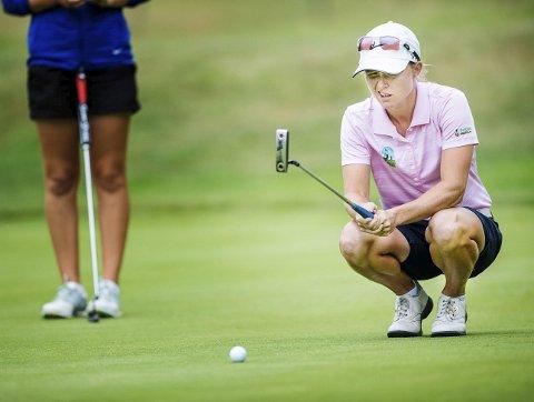 HOLE-IN-ONE: Mariell Bruun klinte til med en hole-in-one fredag. Resten av runden var ujevn.