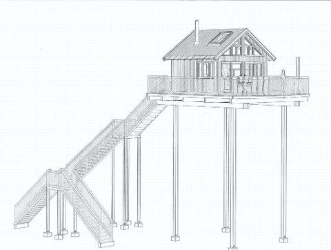 SØKER: Ruben Andre Westvang har søkt om å få sette opp to tretopphytter for å styrke gården som ressurs. Tegning: Byggplan AS