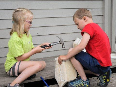 Samarbeid og nye bekjentskap: Mali og Oskar samarbeidet godt da de snekret fuglehus.