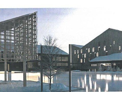 Blir større: Gaustablikk kan ta i mot flere gjester når de nye byggene  mot øst er på plass. Her er arkitektfirmaet Nordics tegning.