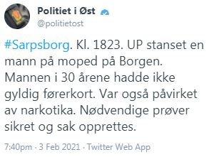NARKOTIKAPÅVIRKET: Twitter-meldingen fra politiet.