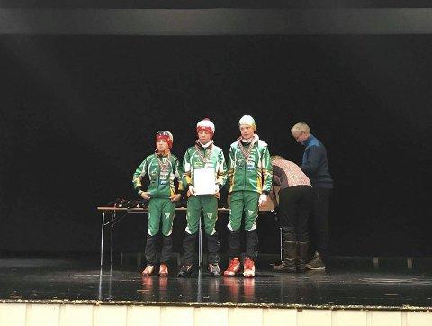 PALLPLASS: Det ble tredobbelt Berger på pallen i gutter 13 år. Jens Kristoffer Dyrdahl vant foran Sivert Ekroll og Kristoffer Aulie.