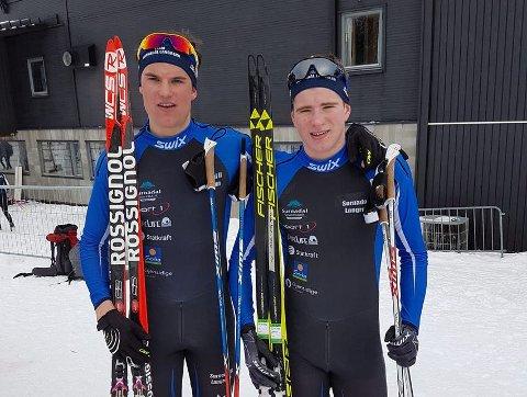 VANT: Jonas Aasbø (til venstre) og Kristoffer Berset vant søndagens KM i sprintstafett i Granåsen.