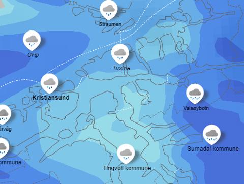 Lørdag vil det regne over hele Nordmøre