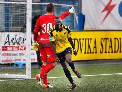 MATCHVINNER: Moses Mawa scoret kampens eneste mål, da Bærum slo Kvik Halden.