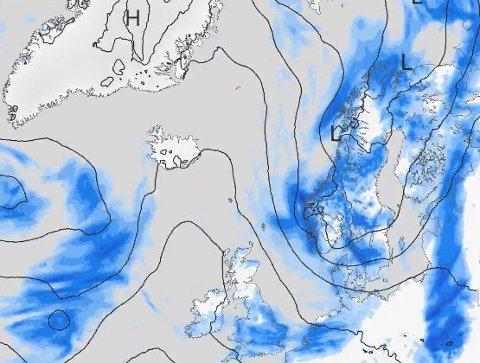 Kraftig vær: Meteorologisk institutt melder om mye og kraftig vær de neste dagene for store deler av Norge. Værkartet viser prognosene for hvordan været blir søndag klokken 20.00.
